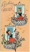 Vintage Victorian Girl Flowers Garden Window Lilac Tree Print 1 Hope Chest Card