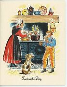Vintage Amish Mother Frying Donuts Cast Iron Oven Scotty Dog Recipe Card Print