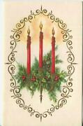 Vintage Christmas Red Candles Flame Candle Holder Holly Berry Gold Greeting Card
