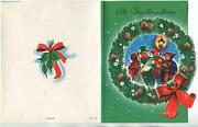 Vintage Christmas Old Fashioned Carolers Music Horn Pine Cone Wreath Mcm Card