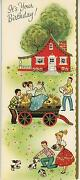 Vintage Red House Farm Girl Boy Hay Puppy Square Dance Print 1 Hope Chest Card
