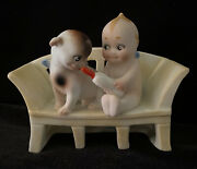 Rare Antique Rose O'neill Bisque Action Kewpie Doll Feeding Bottle To Doodle Dog