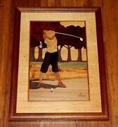 Handmade Marquetry, Golf Art, By Nelson, Of Hudson River Inlay. Excellent Cond.
