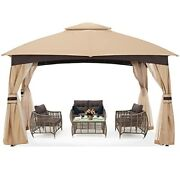 Abccanopy High Grade Gazebos For Patio 10x12 With Mosquito Netting Beige