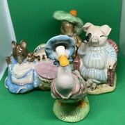 Vintage Beatrix Potter Beswick Royal Albert 4 Figurines Lot With Boxes