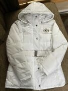 Womens Sz. L White Nfl Green Bay Packers Apparel Nwot Belted Winter Jacket-warm