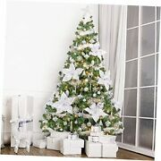7.5ft Pre-lit Artificial Christmas Tree With Ornaments, Snow White 7.5 Ft