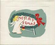 Vintage Christmas Angel Girl Painting Wreath Red Bow Woodblock Art Greeting Card