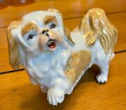 Dresden Pekingese Porcelain Figurine -3 1/4 T X 4 1/2 L Red And White 8s