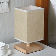 Modern Square Bedside Table Lamp With Linen Lampshade Woodwork Base Living Room