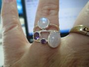 Sterling Silver Opal And Amethyst Purple Stone Ring Sz 7.75 Artist Hand Made Mod