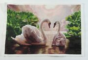 Completed Cross Stitch Hand Swans In Love Unframed Finished 20.5x14
