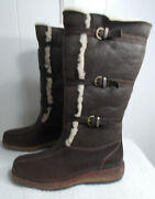 New Tall Ugg Leather Boots 3 Straps And Spill Seams Brown Women's Size 7