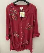 Anthropologie Fig And Flower Peasant Blouse Boho Top Tunic Embroidered Plus Size