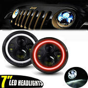 2pc 7 Round Led Headlights Red Halo Drl Fog Lights Combo For 03-09 Hummer H1 H2