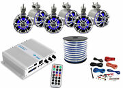Pyle Marine 6-channel Bluetooth Amp + Kit6x 5.25 Tower Led Speakers50 Ft Wire