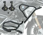 Set Engine Guard + Auxiliary Lights Xl5 For Bmw R 1200 Gs 17-18 Black