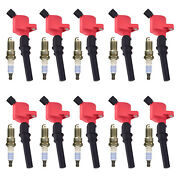 For 99-04 Ford Mustang Coupe V8 4.6l Sp433 Spark Plug + Fd503 Red Ignition Coil