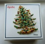 Brand New Vintage Spode Christmas Tree Holiday Brooch Pin In Original Box