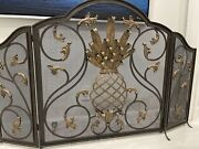 Frontgate Stunning Rare Fireplace Screen 3-dimensional Pineapple Center