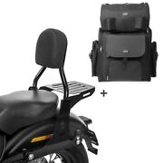 Sissy Bar Cl + Tail Bag For Harley Dyna Super Glide Custom 06-15 With Rack