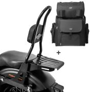 Sissy Bar Csl + Tail Bag For Harley Dyna Low Rider 06-17 With Rack