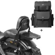 Sissy Bar + Tail Bag For Harley Dyna Super Glide Custom 06-15 With Rack Css