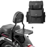 Sissy Bar Cl + Tail Bag For Harley Fat Boy 07-17 With Rack