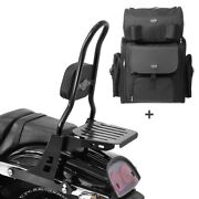 Sissy Bar Csl + Tail Bag For Harley Dyna Fat Bob 10-17 With Rack
