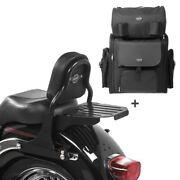 Sissy Bar + Tail Bag For Harley Fat Boy 07-17 Css With Rack