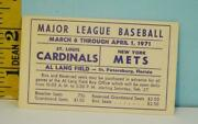 1971 St. Louis Cardinals V New York Mets Pre-season Ticket And Schedule