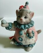 Kitty Cucumber Colorful Pink And Blue Juggling Clown Cat Porcelain Bisque Ornament
