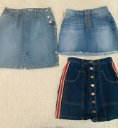 Womens Designer Blue Jean Skirts, Lot Of 3, Guess The Gap, And Stradivarius Size 2