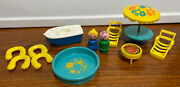 Vintage Fisher Price Little People Patio Set W/ Pool Grill Lifesavers Boat Lot