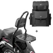 Sissy Bar Csm + Tail Bag For Harley Fat Boy 07-17 With Rack
