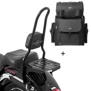 Sissy Bar Csxl + Tail Bag For Harley Softail 07-17 With Rack