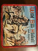 Vintage 1955 Aladdin Wild Bill Hickock And Jingles Metal Lunchbox And Thermos