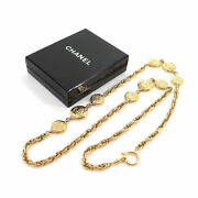 Mademoiselle Coco Logo Coin Long Vintage Necklace Gold Ladiesand039