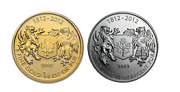 Canada 2012 Two Coin Set - Gold 10 And Silver 1 War Of 1812 Commemorative