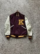 Vintage K Letterman Varsity Maroon And Yellow Jacket Patches Fits Size Large