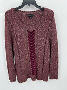 Lane Bryant Womenand039s Pullover Sweater Size 18/20 Burgundy Scoop Neck Long Sleeve