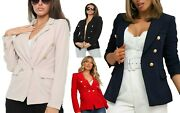 Womens Italian Gold Button Blazer Ladies Double Breasted Military Stretch Jacket