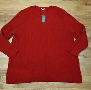 J.jill Plus Size 3x Perfect Red Cable Knit Soft Chenille Sweater New