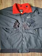 Lands End Squall Jacket Made In Usa Mens Coat Xl Tall Fleece Lined Red Blue
