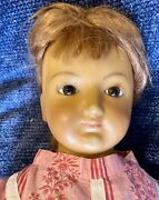 """Antique German 28"""" Huge Wax Over Paper Mache C1870 Doll W/mohair Wig And Orig Body"""