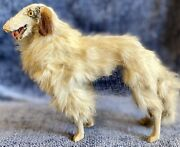 """Antique French Very Large 8"""" C1890 Borzoi Dog To Display W/ French Fashion Doll"""