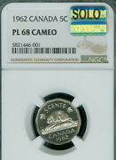 1962 Canada 5 Cents Ngc Pl68 Cameo Mac Solo Finest Graded Mac Spotless .