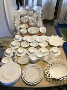 80 Piece Lot Collection Of Milk Glass Fenton Westmoreland Indiana Glass