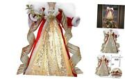 15.7 Inch Pre-lit Luxury Red Gold Christmas Angel Tree Topper Angel Tree Top
