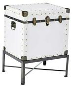 Trunk-style Accent Cabinet White